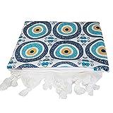 Ebsem Turkish Cotton Bamboo Bath Beach Spa Hammam Yoga Gym Yacht Sauna Towel Wrap Pareo Fouta Throw Peshtemal Tablecloth Shawl wrap Blanket Tulip Pattern (Evil Eye Glitter Pattern)