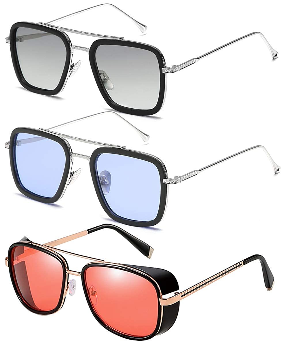 SHEEN KELLY Tony Stark Sunglasses 2 Pack-Vintage Square ...