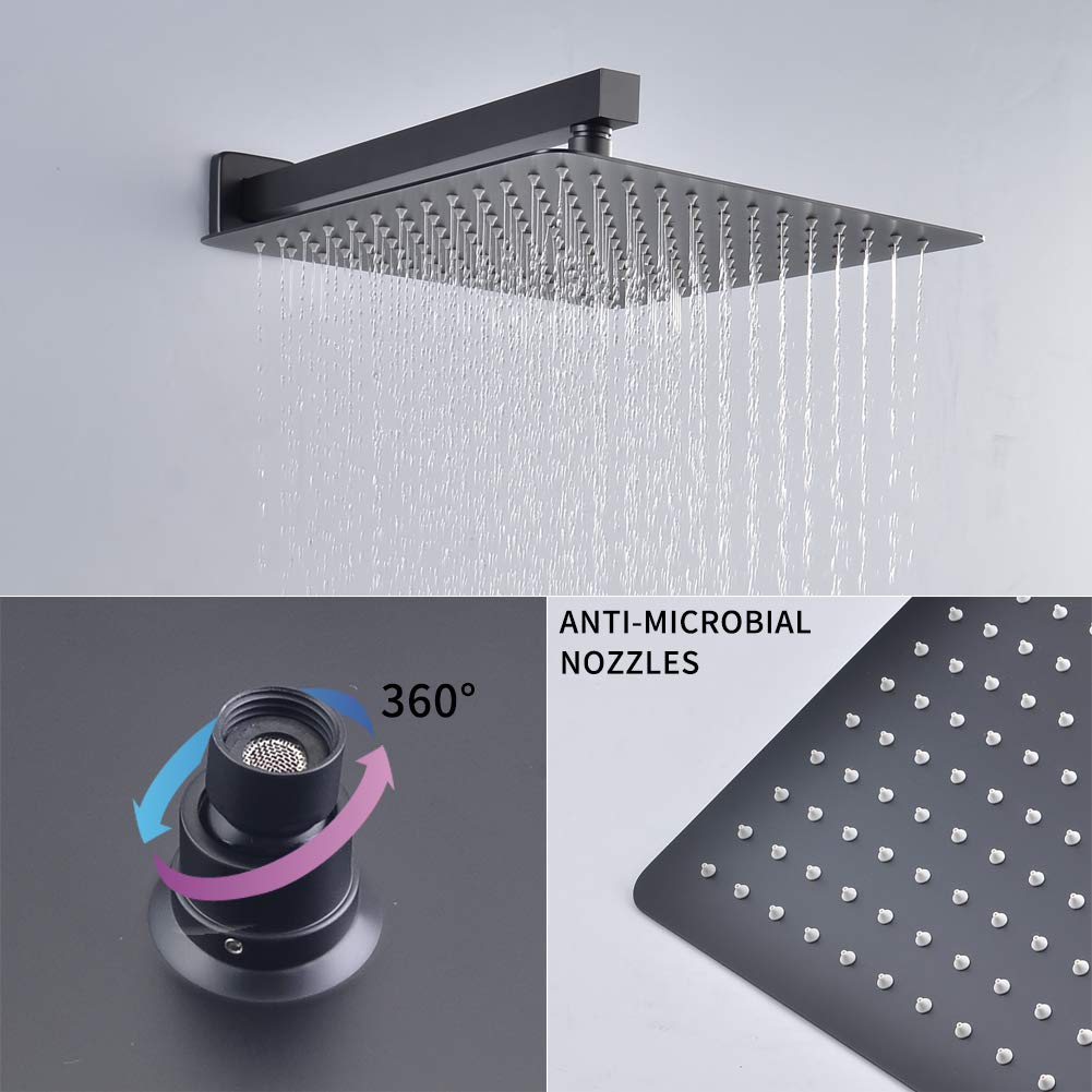 SHAMANDA Luxury Shower Set Bathroom Single Handle Shower Faucet with Trim Valve Body Hand Shower Complete Kit L70001-7 Premium Matte Black Rainfall Shower System