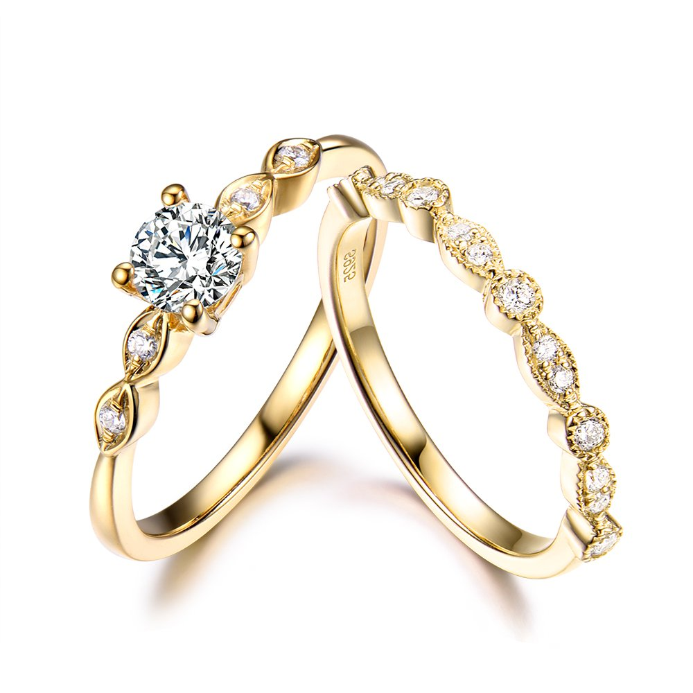 5mm Round Cut CZ Cubic Zirconia 925 Sterling Silver Yellow Gold Plated Wedding Ring Set Engagement Bridal