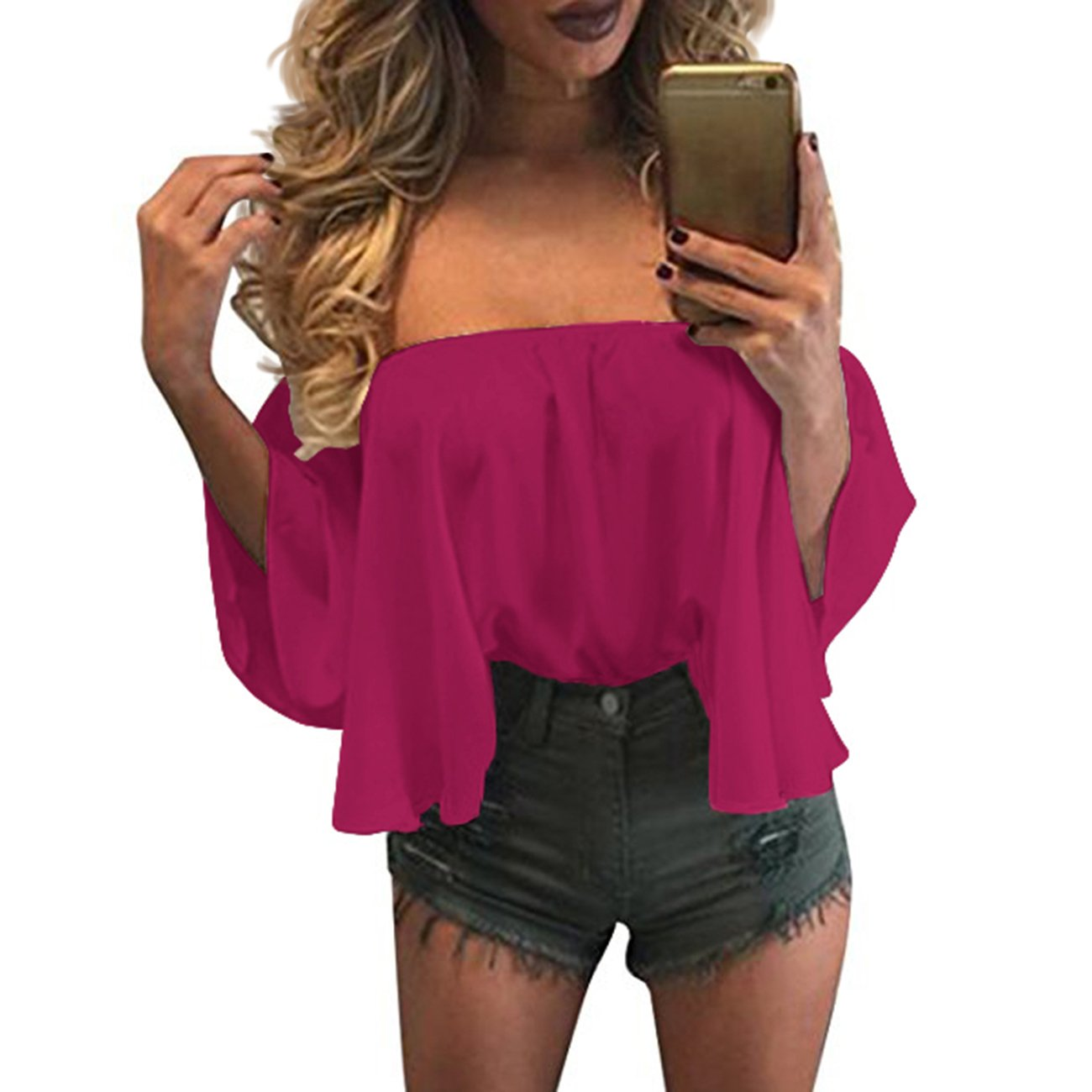 ec6e9c4259a1ef zdzdy Women Short Sleeve Off Shoulder Blouse Casual Pleated Ruffle Blouse  Top Shirt at Amazon Women's Clothing store: