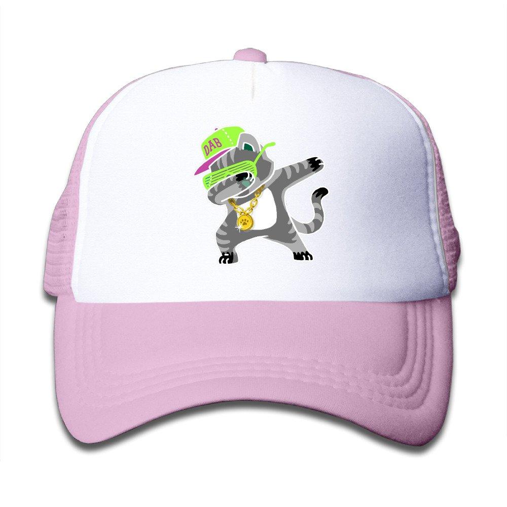 Kid's Dabbing Cat Trucker Mesh Baseball Cap Hat Trucker Hats Pink