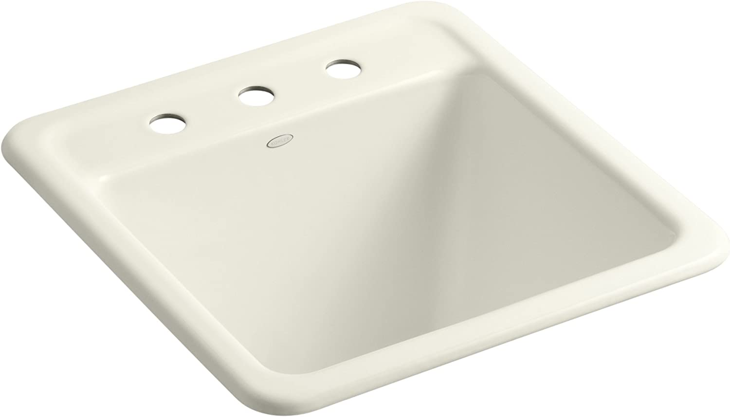 KOHLER K-19022-3-96 Park Falls Top-Mount/Undermount Utility Sink with Three Faucet Holes, Biscuit