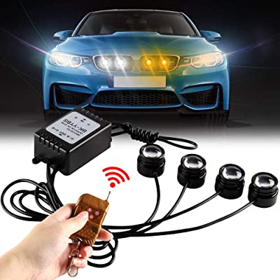 Yifengshun 4 In 1 Amber&White LED Eagle eye Emergency Warning Strobe Lights for Trucks Motorcycle Car Accessories Day Running Light DRL Wireless Remote Control 12V: Automotive