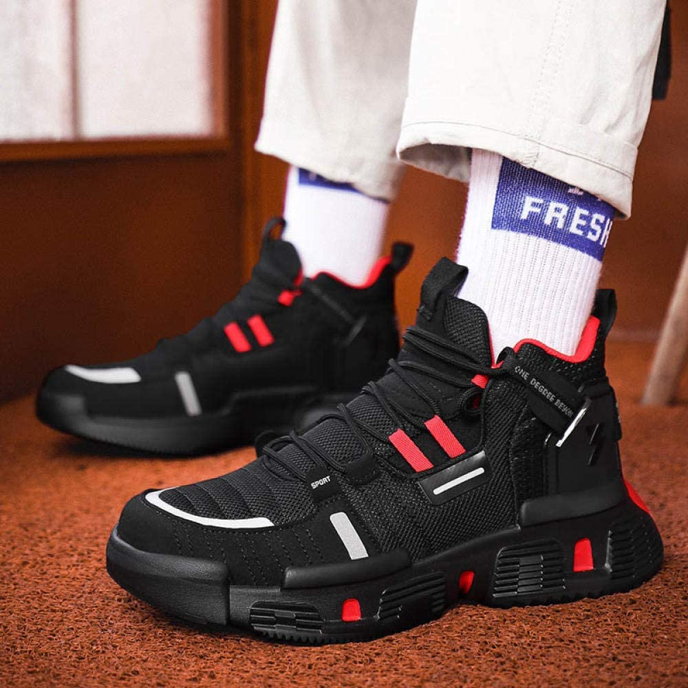 WFQGZ Men's High-Top Sneakers Men's Casual Shoes Breathable Men's Outdoor Chunky Sneakers Comfortable White black