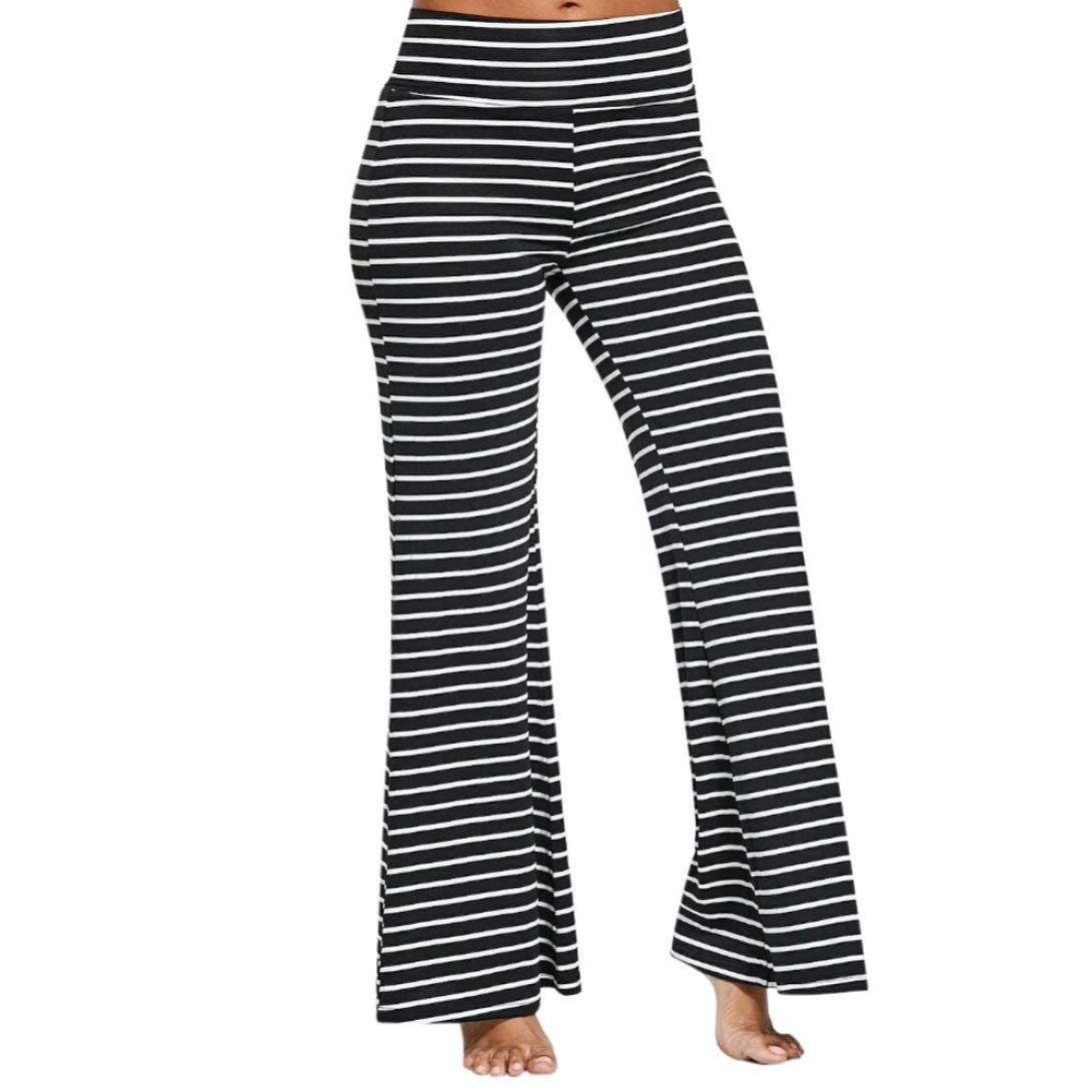 Hot Sale Leedford Womens Casual High Waisted Striped Wide Leg Trousers Loose Bottoms Pants (L, Black)