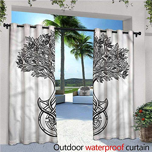 (warmfamily Tree of Life Balcony Curtains Spiritual Celtic Knot Outdoor Patio Curtains Waterproof with Grommets W96 x L96)