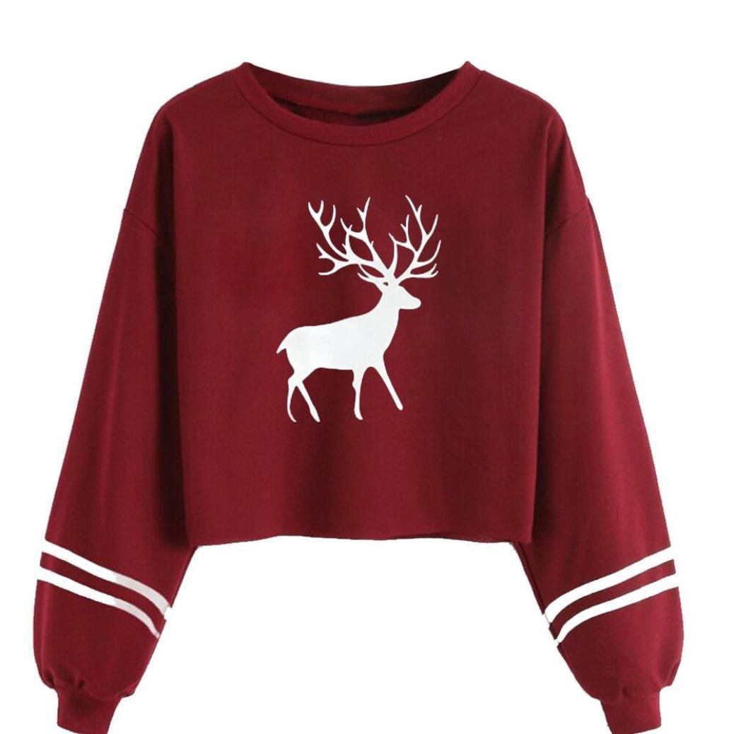 Mallcas Women Sweatshirt Casual Long Sleeve O Neck Deer Print Hoodie Jumper Pullover Tops Blouse Long Sleeve T-Shirt