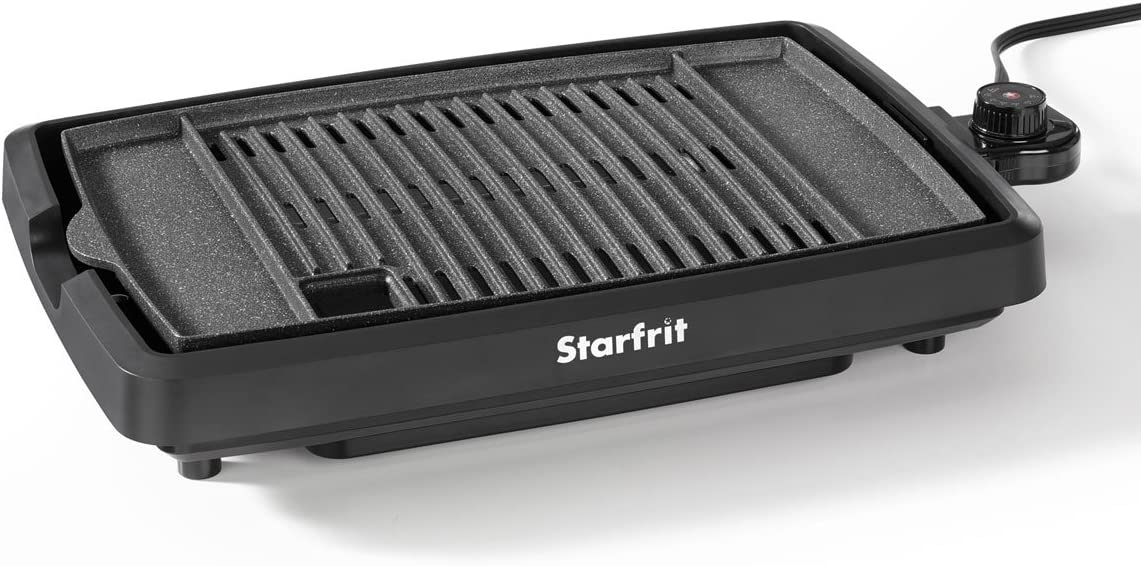 Starfrit The Rock 024414-003-0000 Electric Indoor Smokeless BBQ Grill, Black