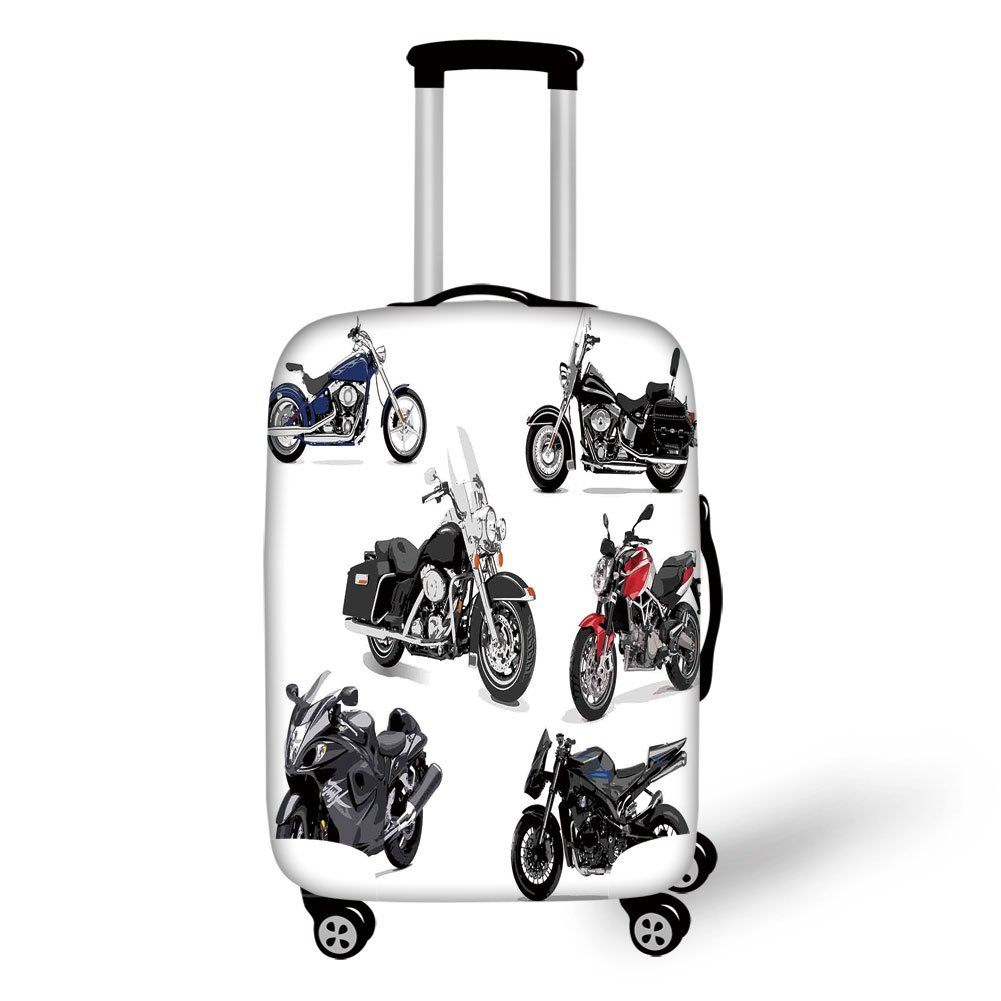 Travel Luggage Cover Suitcase Protector,Motorcycle,Unique Original Motorcycles Set Freestyle Action Life with Winged Wheels Hobby Print,Multi,for Travel