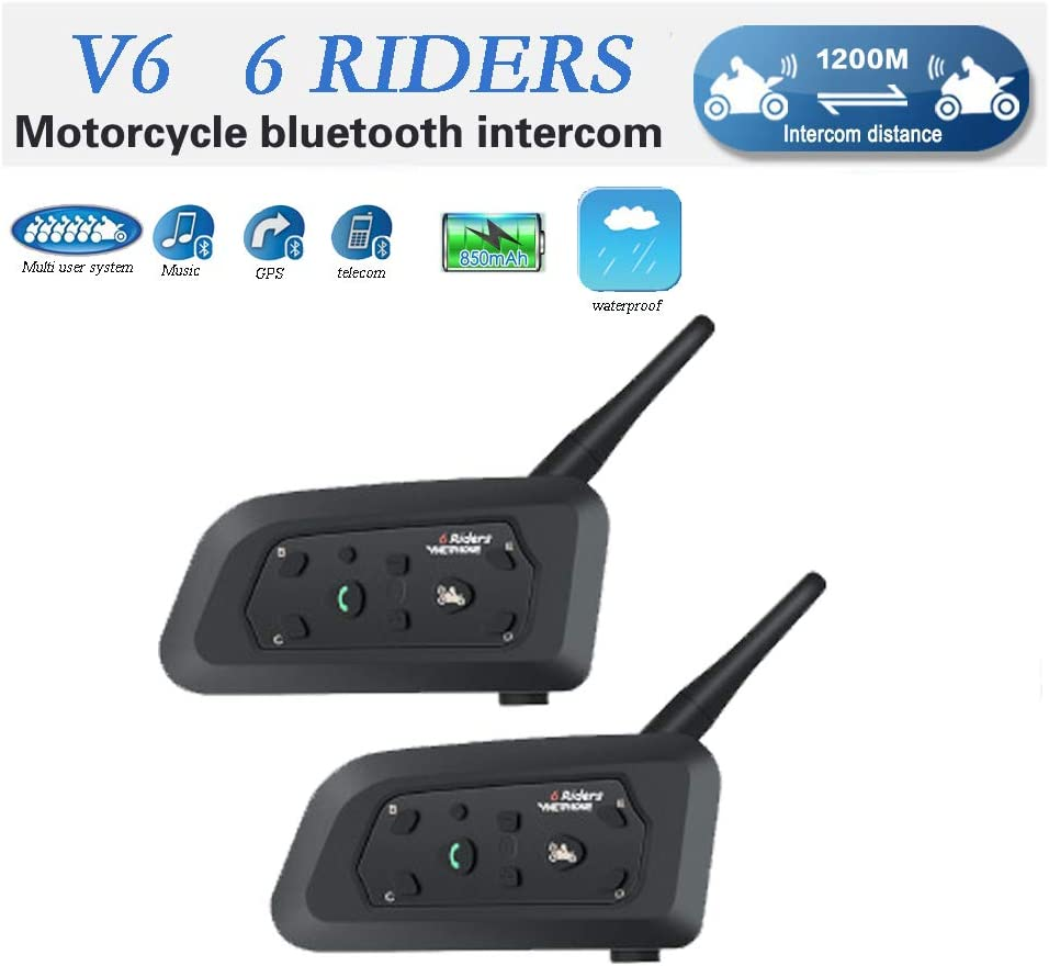 V6 Moto Bluetooth Casco Intercomunicador Intercomunicador Auricular, dúplex Completo Moto inalámbrico Interfono Conecte hasta 6 pasajeros, Radio FM/GPS / MP4 / 1200M(2 Pieza Cable Duro)