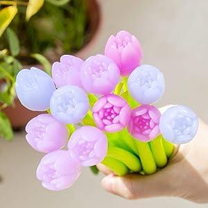 Yarachel Color Changing Flower Pens - Pack of 30 Ballpoint Pens Creative Gel Ink Rollerball Pen for School Home Office Stationery Store Kids Girls Gift, Black 0.38mm (Tulip)