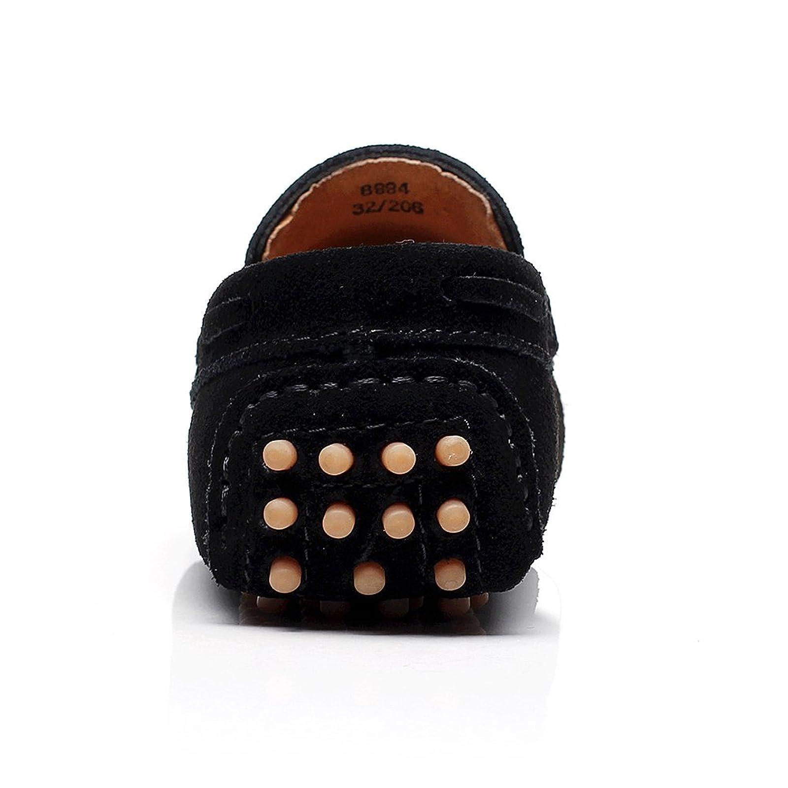 Shenn Boys Girls School Dress Comfort Slip On Suede Leather Loafer Flats