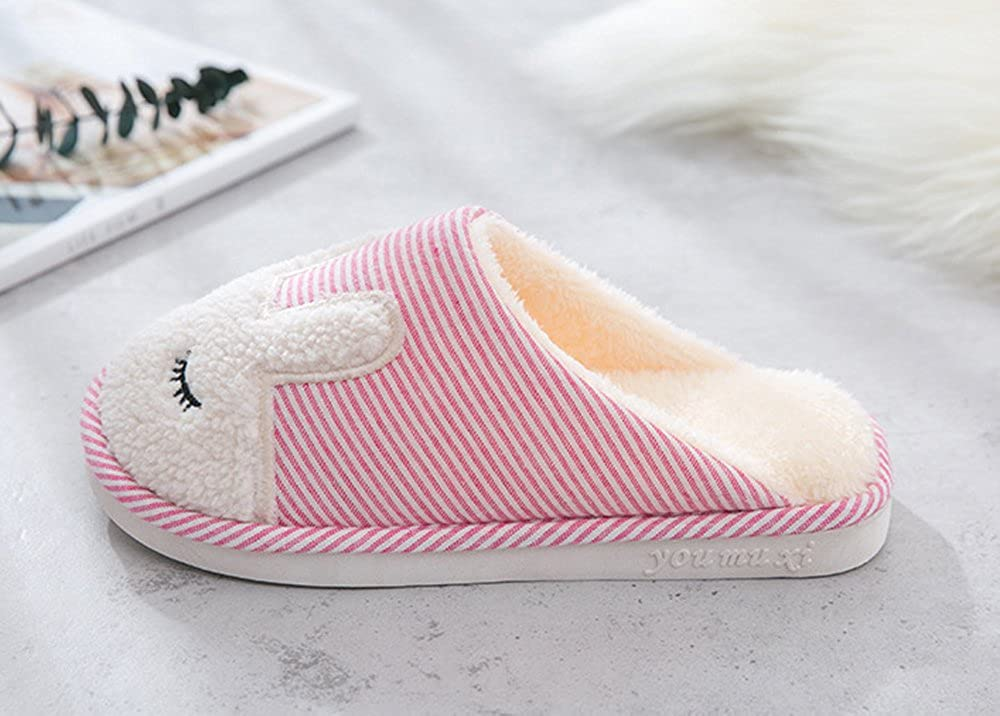 Rojeam Ladies Rabitt Slipper Plush Lined Slipper With Fabric Non-Slip Sole Shoes For Women and Men