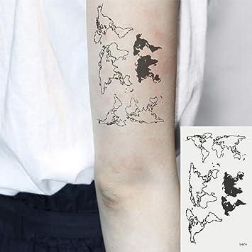 Oottati 2 Hojas Pequeño Lindo Tatuaje Temporal Tattoo Mapa Del ...