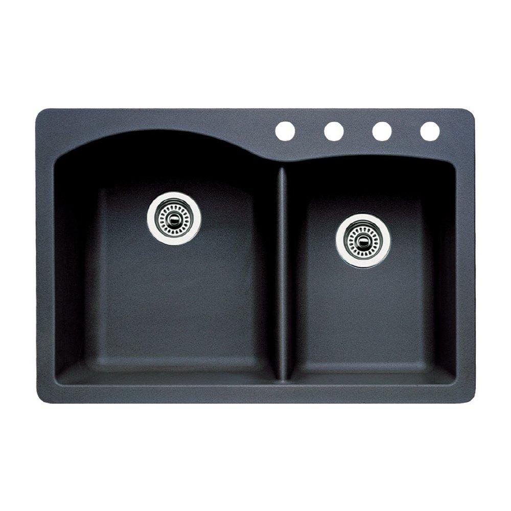 Blanco 440215-4 Diamond 4-Hole Double-Basin Drop-In or Undermount Granite Kitchen Sink, Anthracite