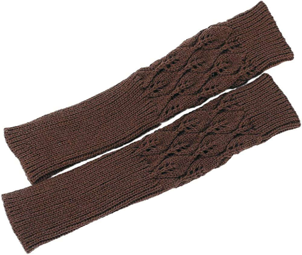 Coffee Fheaven Womens Winter Wrist Rhombus Knit Long Fingerless Gloves Thumbhole Arm Warmers