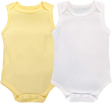 Baby Bodysuit Sleeveless/ Mesh Romper Cotton Body Vest for Summer 2-Pack 3-24 Months