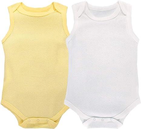Body Bebé Pack de 2 Niñas Niños Monos Sin Mangas Pelele Pijama de ...