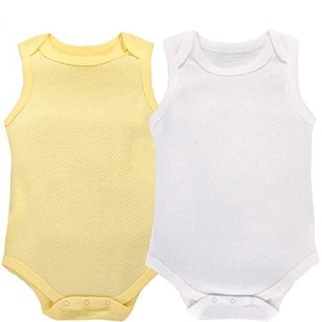Body Bebé Pack de 2 Niñas Niños Monos Sin Mangas Pelele Pijama de Algodón 3-
