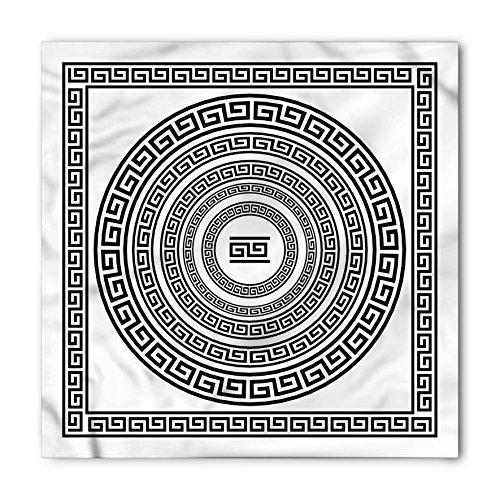 Bandana Frame - Ambesonne Unisex Bandana, Greek Key Antique Frame Set, White and Black