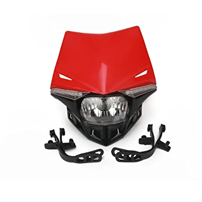 JFG RACING S2 12V 35W Universal Motorcycle Headlight Head Lamp Led Lights For For Honda Dirt Pit Bike ATV - Red: Automotive
