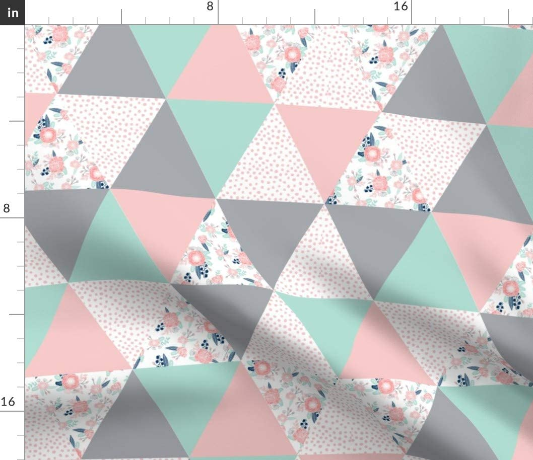 Spoonflower Fabric - Cheater Quilt Triangle Navy Mint Pink Floral Baby Cute Nursery Printed on Upholstery Velvet Fabric by The Yard - Upholstery Home Decor Bottomweight Apparel