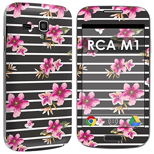 RCA M1 Full Body Edge to Edge Skin Decal [Easy Apply] [No Bubbles Air Release] - [Black Stripe Pink Floral] for RCA M1 [4
