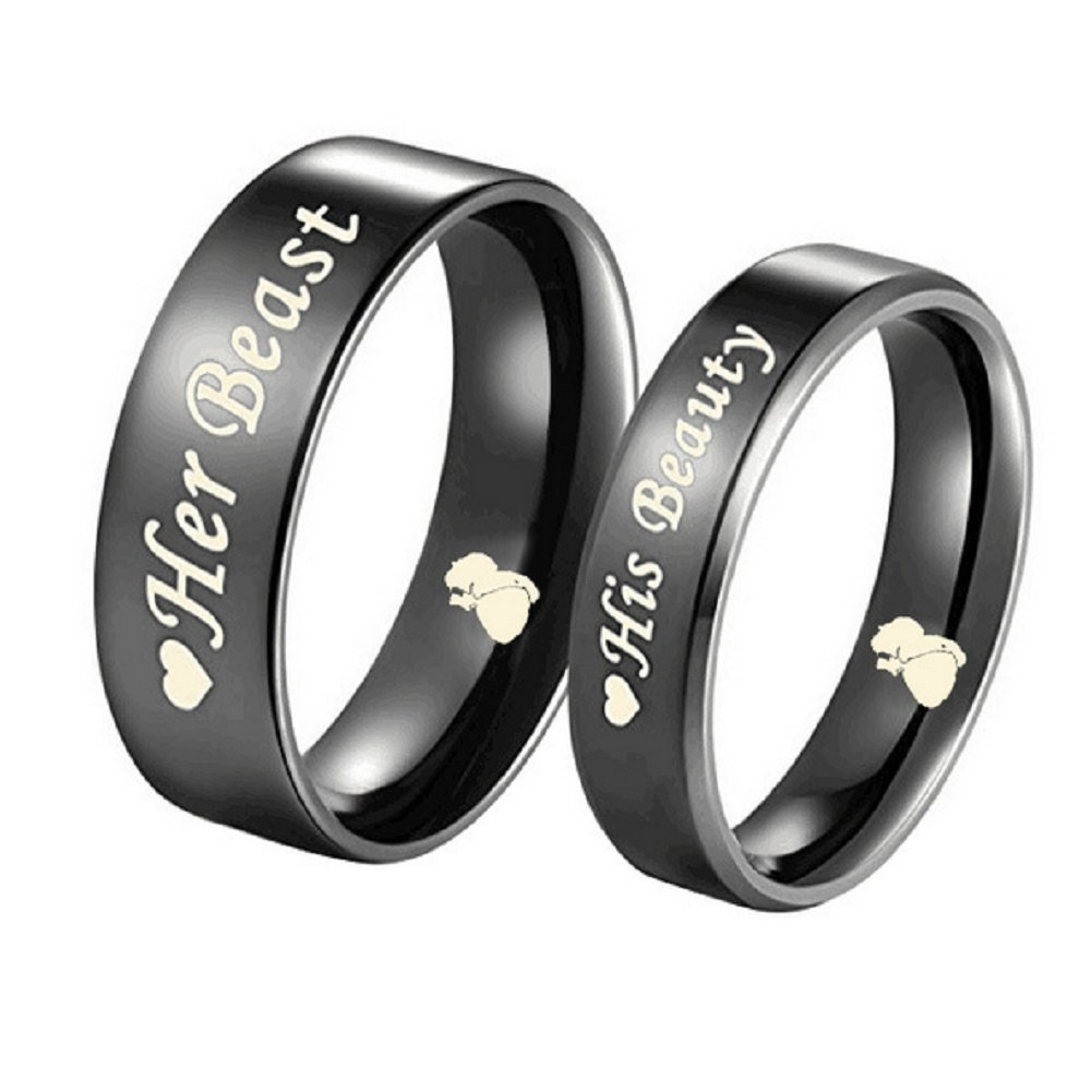 Blowin His Beauty/Her Beast Love Heart Black Stainless Steel Engagement Wedding Bands Promise Ring 2017BW14P10001
