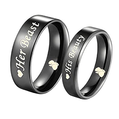 Amazon.com: His Beauty/Her Beast Love Heart Black Stainless Steel ...