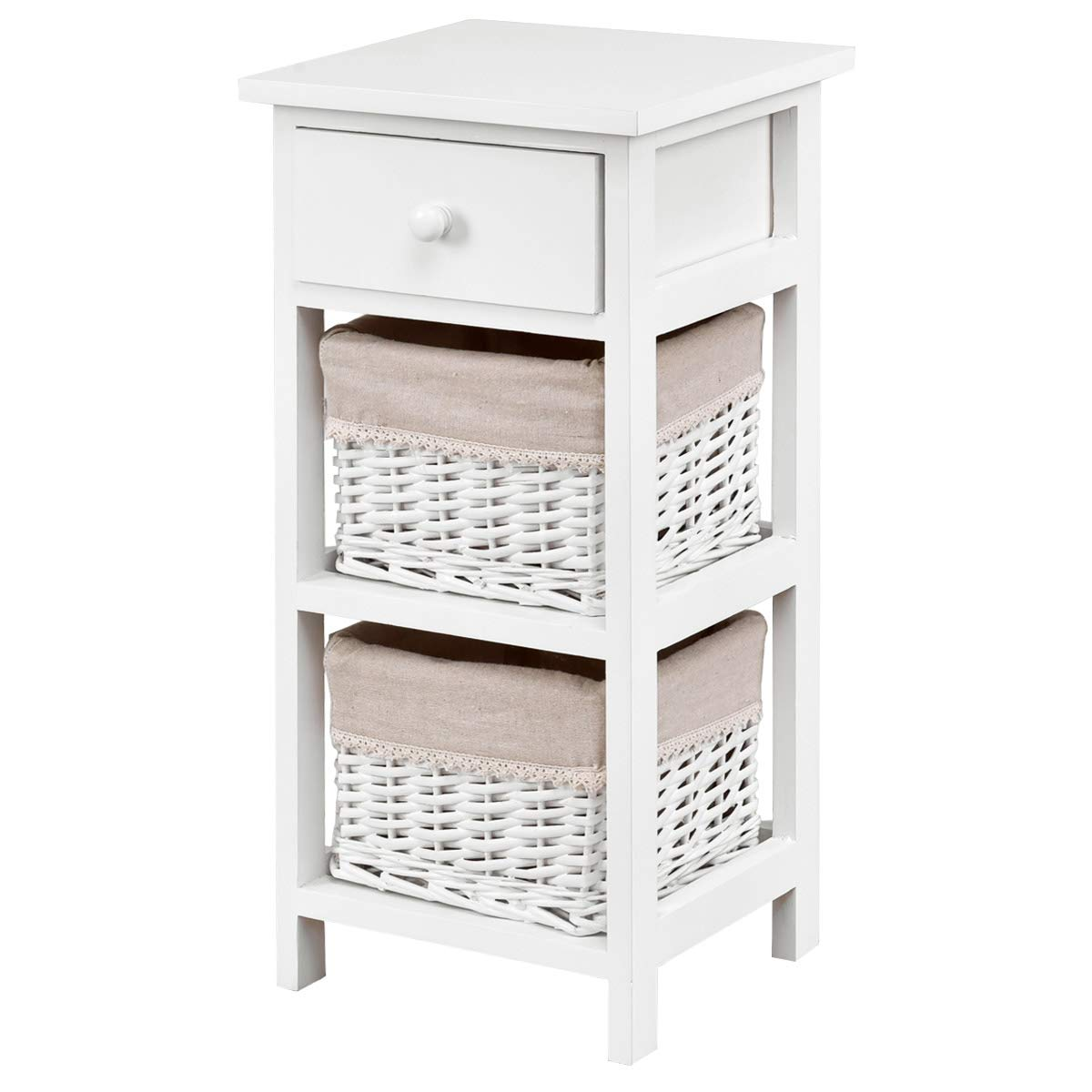 Giantex Nightstand Wooden W/Drawer and Two Rattan Baskets for Bedroom, Living Room Home Furniture Storage Organizer Chest Cabinet Bedside End Table (1)