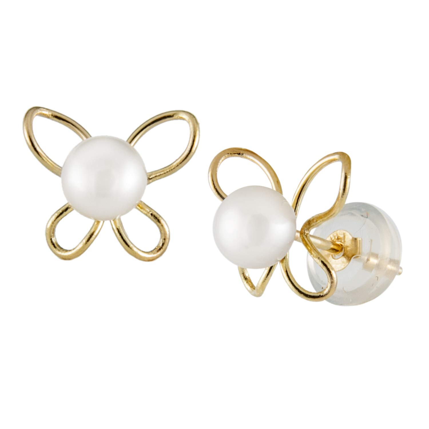 14k Yellow Gold Butterfly Stud Earrings with White 4-4.5mm Freshwater Pearls and 14K Yellow Gold Butterly Push Backs in Silicone