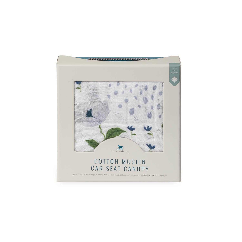 Amazon.com: Little Unicorn Cotton Muslin Car Seat Canopy - Blue Windflower: Baby
