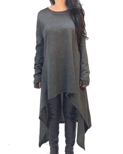 ZANZEA Women's Long Sleeve O-Neck Irregular Hem Jumper Pullover Loose Long Dress