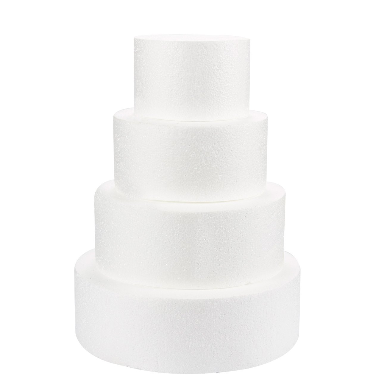Round Cake Dummy - 4-Piece Polystyrene Foam Dummy Cake for Wedding Display Window, Decorating Competition, 6, 8, 10, 12 inches Diameter, 4 inches Tall
