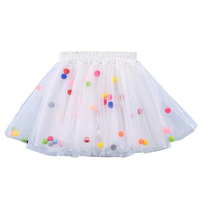 Happy cherry - Falda Tutú Corta para Niñas 0-10 años Tutu Skirt con Pom Pom Coloridos para Halloween Navidad Ballet: Amazon.es: Ropa y accesorios