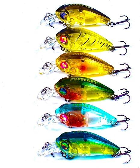 6 piezas Señuelos de pesca Popper Hard Bait Hard Plastic Mar Cebo de pesca Fundición Spinning Jigging Pesca Pesca de agua dulce Otros Trolling: Amazon.es: Deportes y aire libre