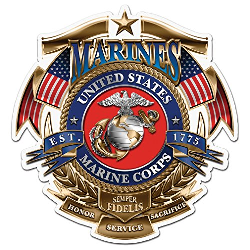 Collectible Marine Corps Decals (4in,2pack), Share your Support with our Vinyl USMC Badge of honor Stickers for your Home, Car, Cases and more, Souvenir Gifts for Marine Corps