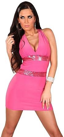 Minikleid mit Trägern & eleganter Paillettenverzierung Einheitsgröße (34-38),  pink