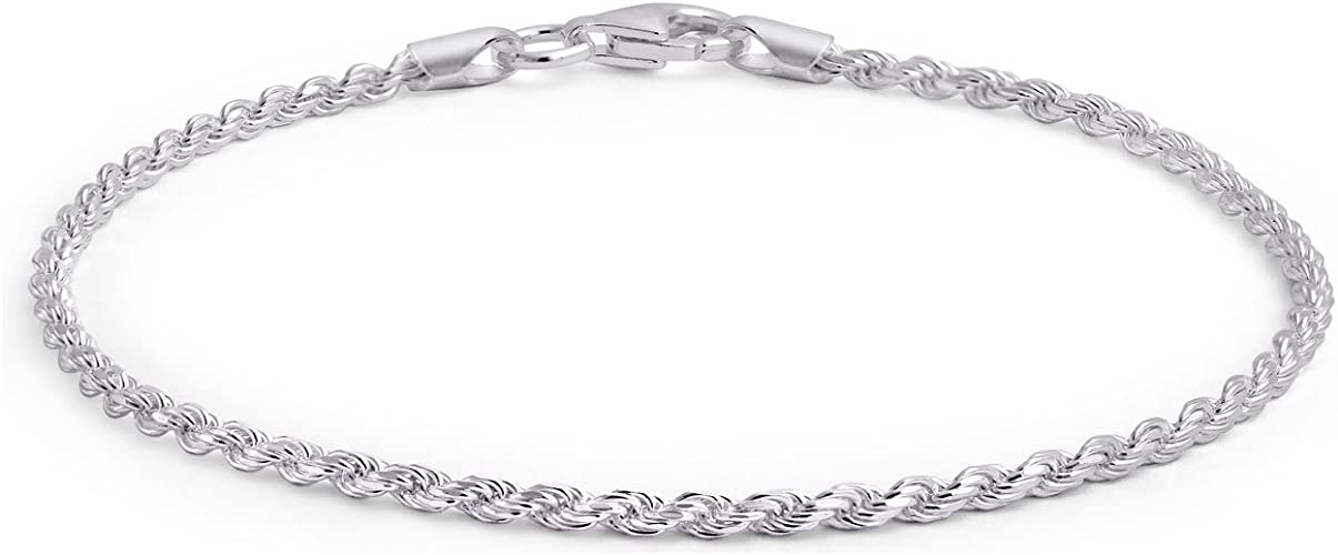 Bracelet or Necklace Ritastephens Sterling Silver or Gold Tone Italian 2.1mm Figaro Link Chain Anklet