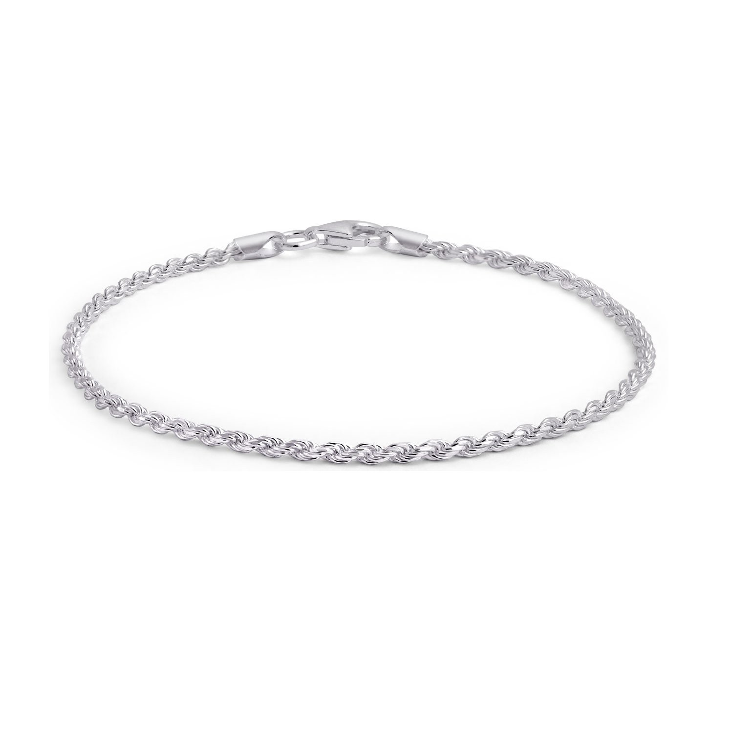 925 Sterling Silver Classic Twisted Rope Chain Italy Anklet Lobster Claw Clasp 40 Gauge Bling Jewelry SSTR-RP040-P-10
