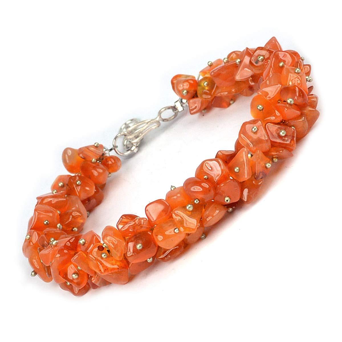 Reiki Crystal Products Natural Carnelian Bracelet Crystal Stone Chip Bracelet for Reiki Healing and Crystal Healing Stone for Unisex (Color : Orange/Red)