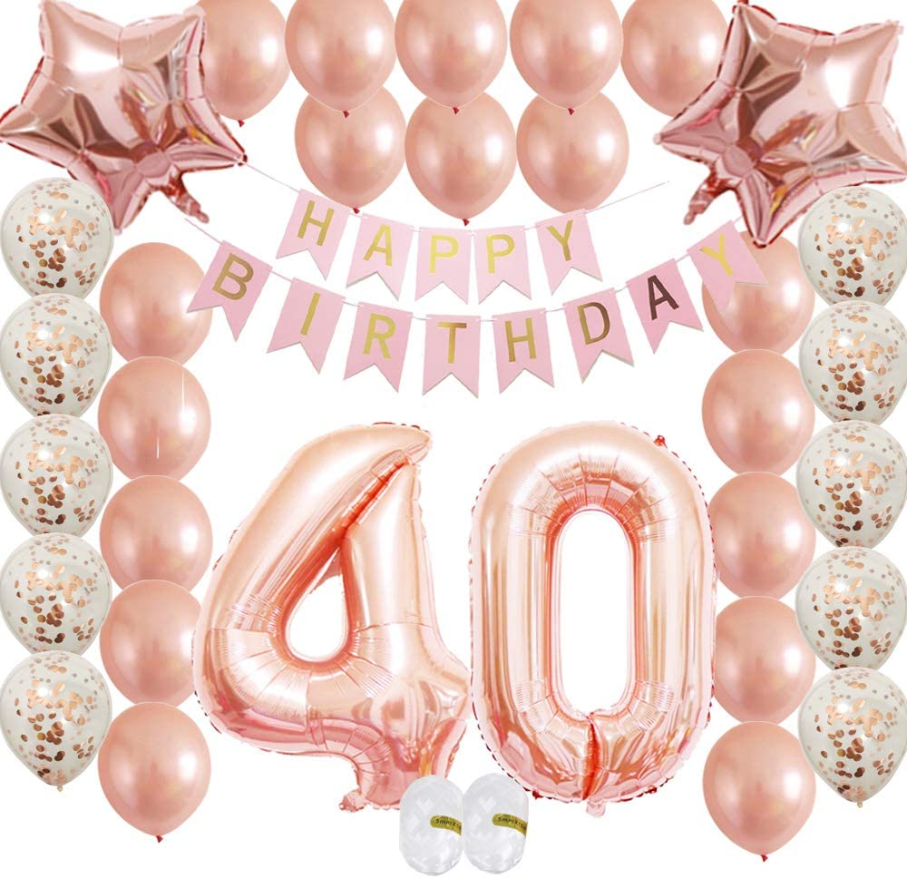 No Helium Needed TABLE DECORATION 40th BIRTHDAY 3 PACK  FOIL BALLOON DISPLAY