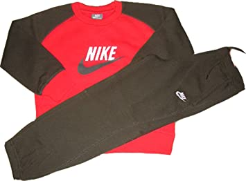 Nike Anzug Little Boy`s Suit Sweatshirt & Hose Rot Braun