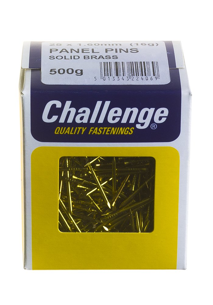 Challenge 25 x 1.60mm 500g Solid Brass Panel Pins Frank Shaw 22406