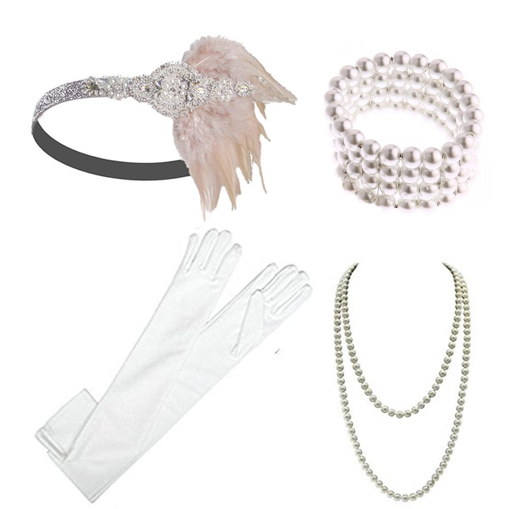 1920s Gatsby Accessories Flapper Headband Necklace Gloves Cigarette Holder Flapper Costume Accessories Set for Women and Girls (EG)