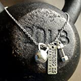 "Titanium Never Tarnish Workout Necklace by Lolly Llama - Trendy Weightlifting Jewelry Necklace with ""Strong is Beautiful"" Charm"