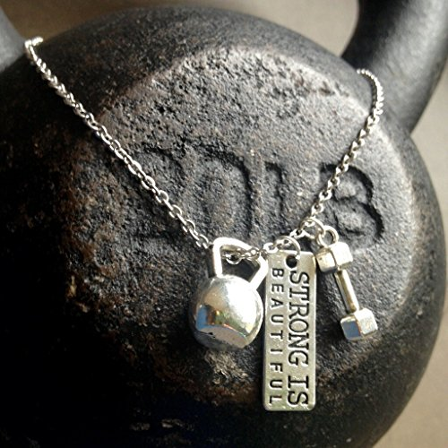 - Titanium Never Tarnish Workout Necklace by Lolly Llama - Trendy Weightlifting Jewelry Necklace with Strong is Beautiful Charm