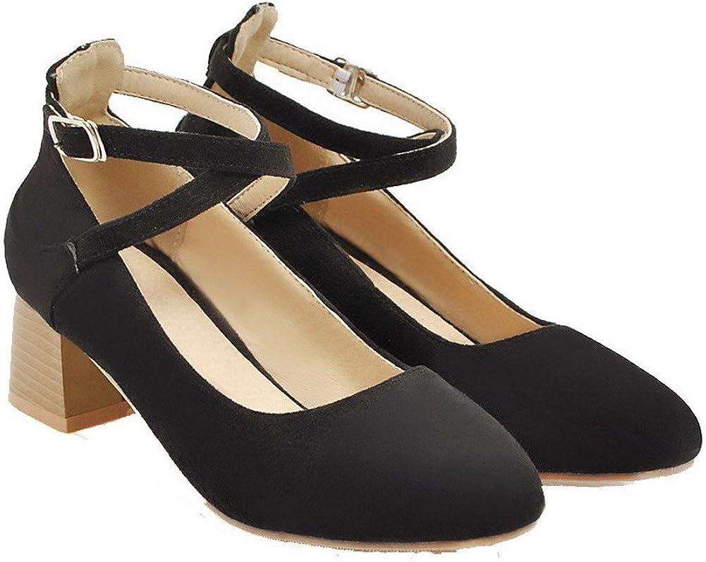 AalarDom Femme PU Cuir Boucle Couleur Unie Chaussures Légeres, TSFDH004532 Noir