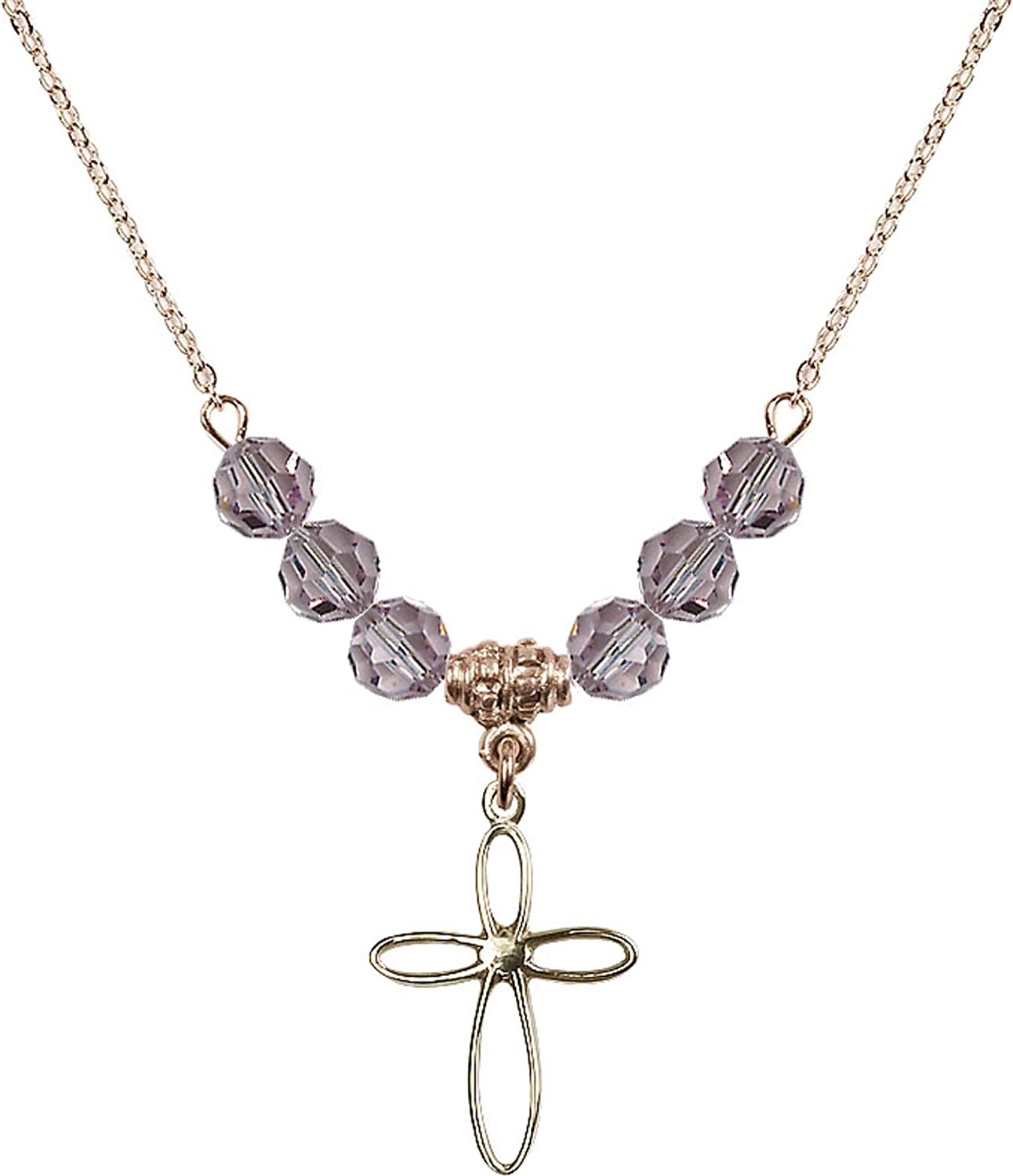 Bonyak Jewelry 18 Inch Hamilton Gold Plated Necklace w// 6mm Light Purple February Birth Month Stone Beads and Loop Cross Charm